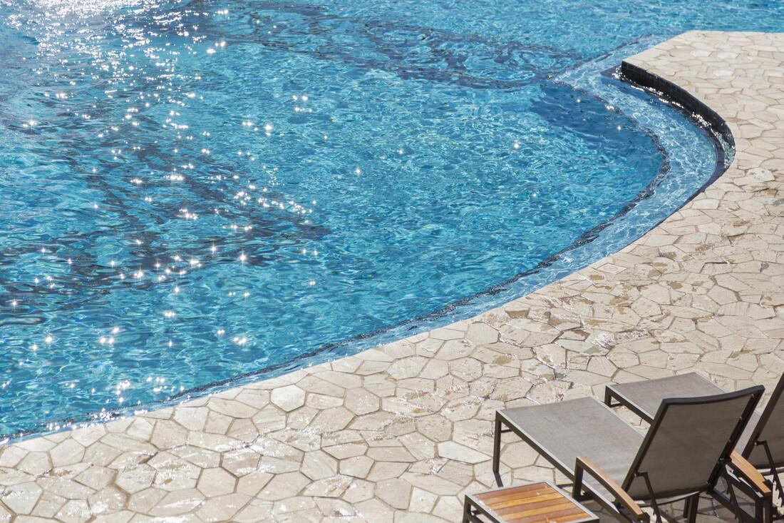 stamped concrete on swimming pool
